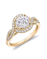 Coast Diamond Yellow Gold Band Engagement Ring with Fishtail Setting