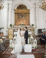Elegant Church Ceremony Venue with Gold Backdrop