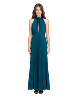 long blue pleated fall wedding guest dress