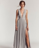 long gray fall wedding guest dress with plunging neckline
