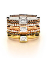 Forevermark by Jade Trau Emerald Cut Solo Stackable Rings