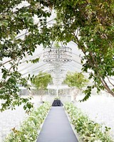 Lush Green and Gray Ceremony Aisle