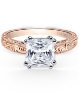 Kirk Kara handcrafted engagement ring with princess-cut center