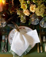 wedding placesetting feather napkin