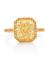 Kwiat Yellow Gold Engagement Ring with Yellow Radiant Diamond