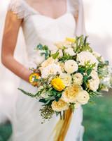monochromatic bouquet yellow flowers