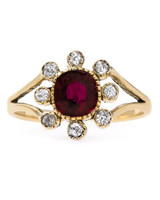 Trumpet & Horn Art Nouveau Split Shank Ruby Engagement Ring