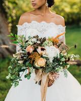autumnal white, orange, and green bouquet