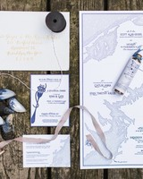 navy coastal wedding invitation