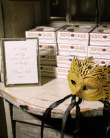 after party decor gold mardi gras mask with king cake boxes