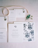 classic wedding invitation with floral liner