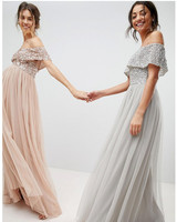 grey silver bridesmaid dresses maya tall bardot top dress