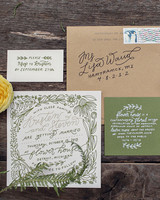 green-and-brown wedding invitation