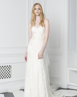 Monique Lhuillier Bliss Fall 2018 Strapless Lace Slim A-Line Wedding Dress