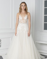 Monique Lhuillier Bliss Fall 2018 Embroidered A-Line Wedding Dress with V-Neckline