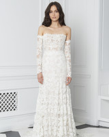 Monique Lhuillier Bliss Fall 2018 Off-the-Shoulder Lace Sheath with Long Sleeves
