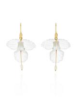 18-Karat Gold, Quartz, and Pearl Orchid Earrings