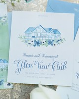 blue and green watercolor wedding invitation
