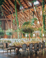 Green and White Candlelit Reception Venue
