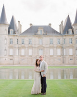 destination engagement couple neutral outfits french chateau
