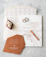 diamond pattern geometric wedding invitations