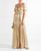 metallic off-the-shoulder dress