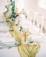 lime and rust table decor