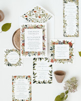 invitation suite with floral motif