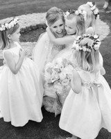 Bride with Flower Girls Wearing Rose and Italian Ruscus Flower Crowns