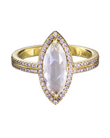 Eva Fehren Marquise-Cut Engagement Ring with Double-Shank Gold Band