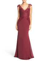 red bridesmaid dress hayley paige ocassions lace cap sleeve