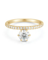 Forevermark by Jade Trau Round-Cut Diamond Engagement Ring on Yellow Gold Band
