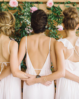 Light Pink, Open-Back Bridesmaid Dresses
