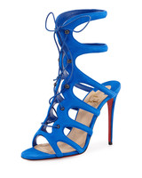 Christian Louboutin caged blue lace up suede sandals