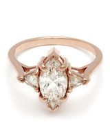 Anna Sheffield Marquise-Cut Engagement Ring With Rose Gold Band