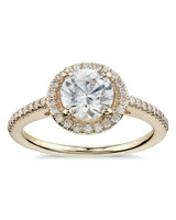 Blue Nile Classic Halo Diamond Engagement Ring in Yellow Gold