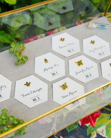 Honeycomb Wedding Inspiration, Honeycomb Escort Cards with Bee Pins