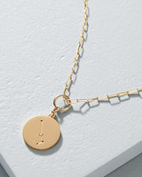 personalized bridesmaids jewelry gift gold zodiac charm necklace