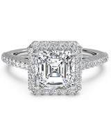 Ritani Asscher-Cut French-Set Engagement Ring with Halo and diamond band