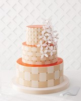 Orange and White Basket Weave Wedding Cake