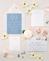 classic invitation ballet pink and powder blue with rose design elements