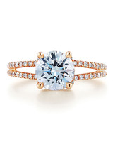Kwiat Rose Gold Engagement Ring with Round Center Stone and Pavé Band
