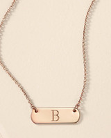 personalized bridesmaids jewelry gift B letter plate necklace