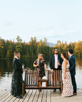 tory sean wedding lake placid new york guests on dock