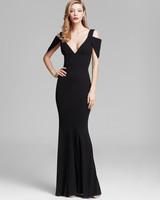 winter bridesmaid dress abs allen schwartz black cold shoulder