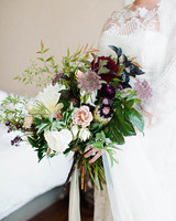 britt courtney wedding minnesota purple fall bouquet