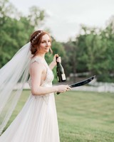 bride sabered champagne