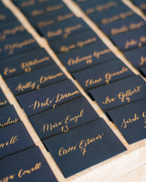 gold and navy escort cards