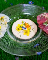 A Plate with Food and Flower Decorations