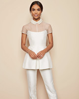 white peplum top pearl beaded collar white pants lela rose